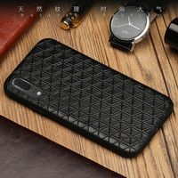 Genuine Leather Phone case For Huawei P10 P20 Lite Pro Case Business Style Triangle Texture For Mate 9 10 Pro Honor V9 V10 case