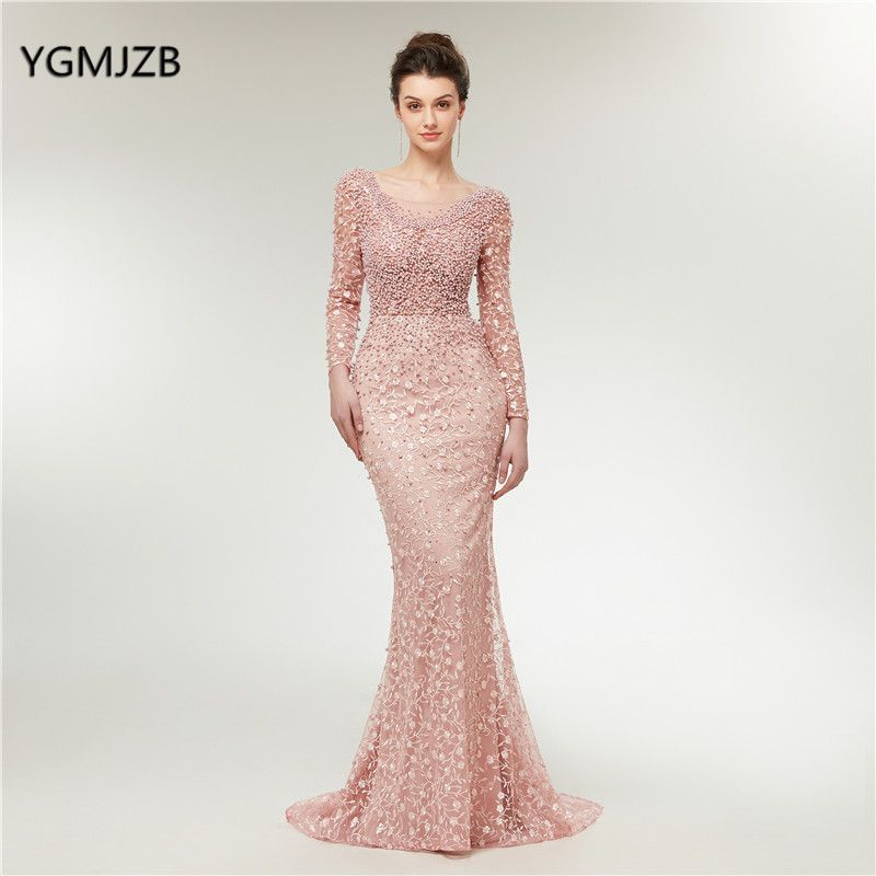 Luxury Evening Dresses 2018 Mermaid Long Sleeves Pearls Lace Embroidery Pink Women Formal Party Gown Prom Dress Robe de Soiree