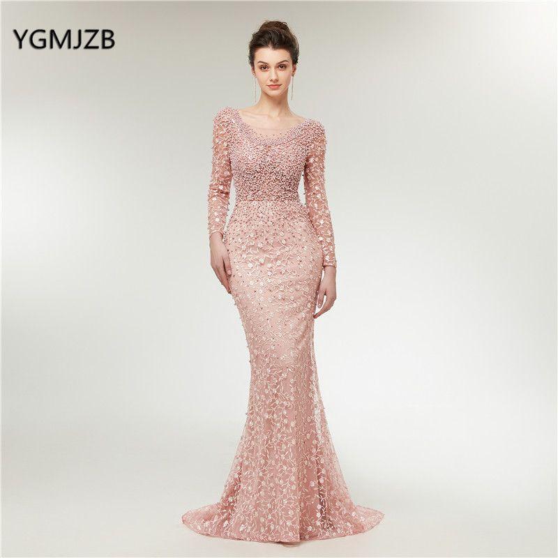 Luxus Abendkleider 2019 Meerjungfrau Mit Langen Ärmeln Perlen Kristalle Spitze Rosa Frauen Formale Party Kleid Prom Kleid Robe de Soiree