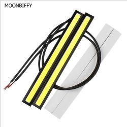 MOONBIFFY 1Pcs Car styling Ultra Bright 12W LED Daytime Running lights DC 12V 17cm Waterproof Auto Car DRL COB Driving Fog lamp