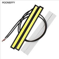 Moonbiffy 1 шт. стайлинга автомобилей Ультра-яркий 12 Вт светодиодные дневные Бег огни DC 12 В 17 см Водонепроницаемый авто автомобилей DRL COB вождения ...