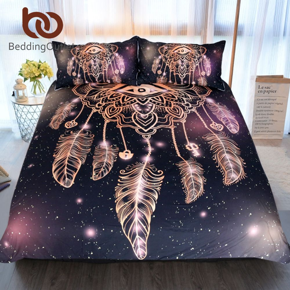 BeddingOutlet Eye Dreamcatcher Bedding Set King Size Luxury Galaxy Golden Print Bohemian Bedclothes 3d Universe Duvet Cover