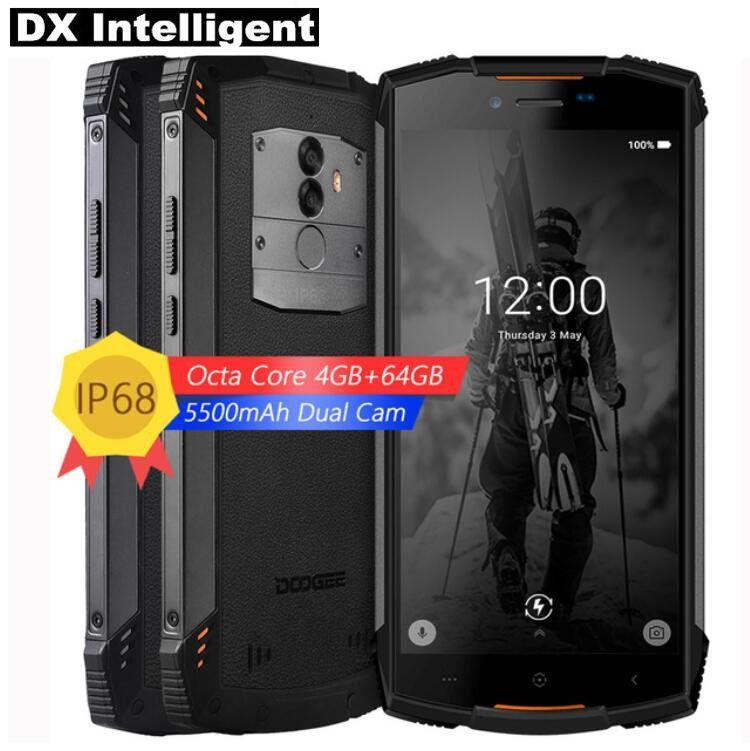 DOOGEE S55 4g LTE MTK6750T Octa base Android 8.0 IP68 Étanche Mobile Téléphone 5.5 pouce HD 4 gb + 64 gb 13MP Double Cam OTA D'empreintes Digitales