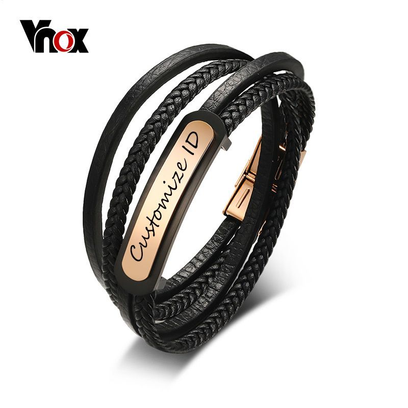 Vnox Free Engraving Men's Leather Bracelet Customized ID Multi-Layer Braided Link Chain Bracelet for Male Jewelry 7.9 <font><b>Inch</b></font>