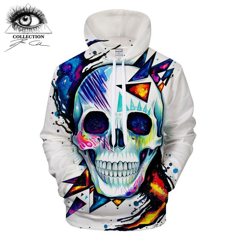 Skull by Pixie cold Art Mens Hoodies 3D Prints Sweatshirts Hoodie Brand 2018 Pullover Men Clothing Drop Ship ZOOTOP BEAR