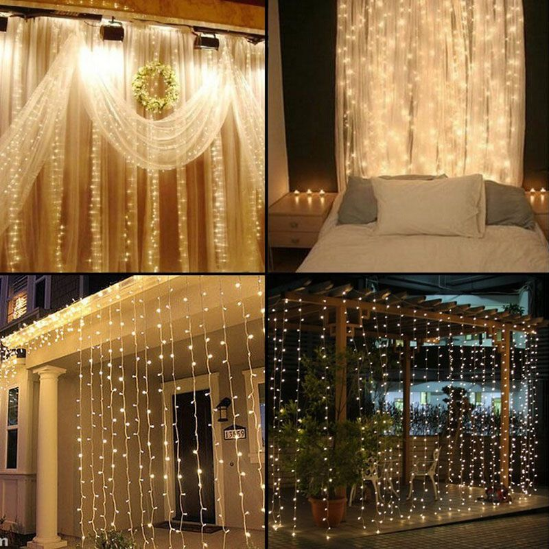 4.5M x 3M 300 LED Home Outdoor Holiday Christmas Decorative Wedding xmas String <font><b>Fairy</b></font> Curtain Garlands Strip Party Lights