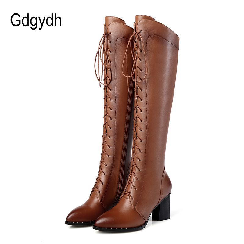Gdgydh 2018 Women Winter Knee High Boots Lacing Black Female Genuine Leather Boots Ladies Square High Heels Rubber Sole Shoes