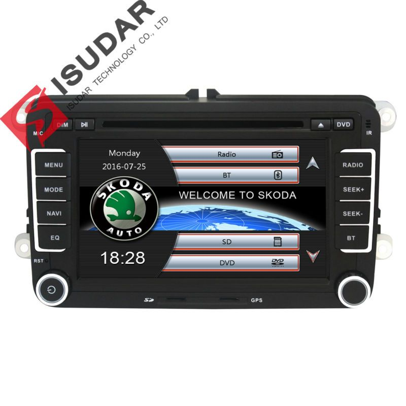 Isudar Auto Multimedia player automotivo GPS Autoradio 2 Din Für Skoda/Octavia/Fabia/Schnelle/Yeti/ superb/VW/Sitz auto dvd player