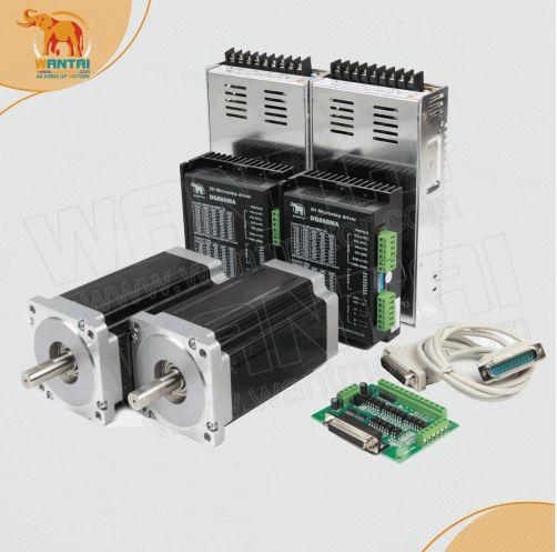 2 achse Nema 34 Stepper motor mit 12N. m, 6.0A & 2 passenden DQ860MA Fahrer, 80VDC, 7.8A * 2 stücke Power Lieferanten & DB25 Breakout-board