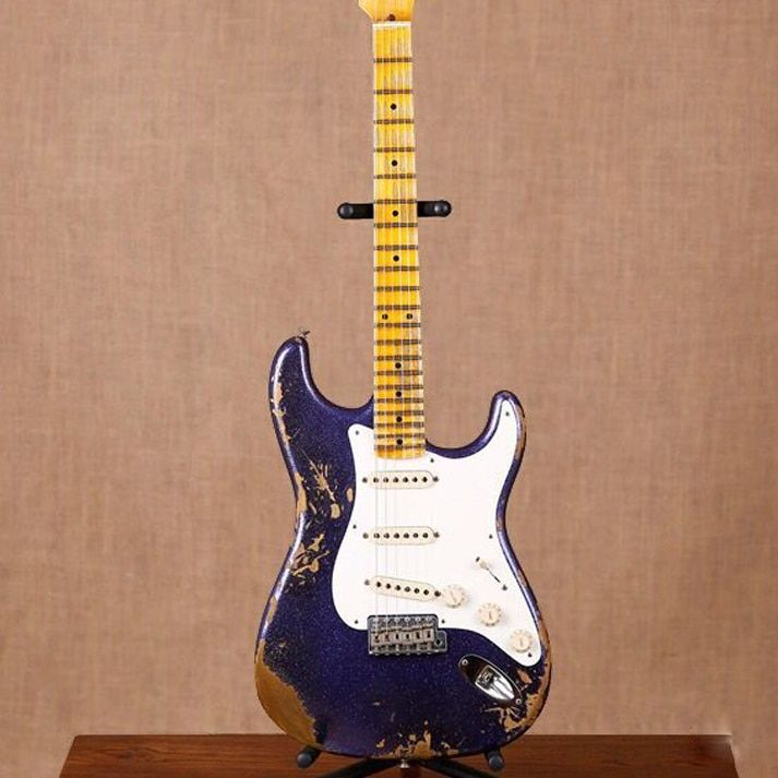 new handmade remains ST electric guitar Masterbuilt John Cruz & John Mayer purple guitarra.stratocaster gitaar relics by hands