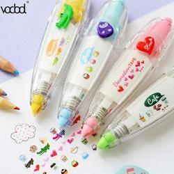 VODOOL Kawaii corazón pasteles animales tipo de prensa corrección decorativa diario creativo escuela papelería suministros regalos