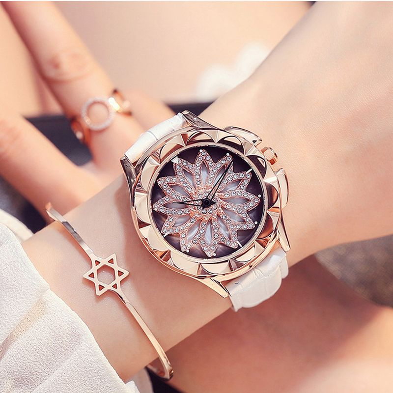 2018 new woman quartz watches waterproof 30mFUYIJIA watch rotating dial dress belt watch fashion rose gold ladies watch student
