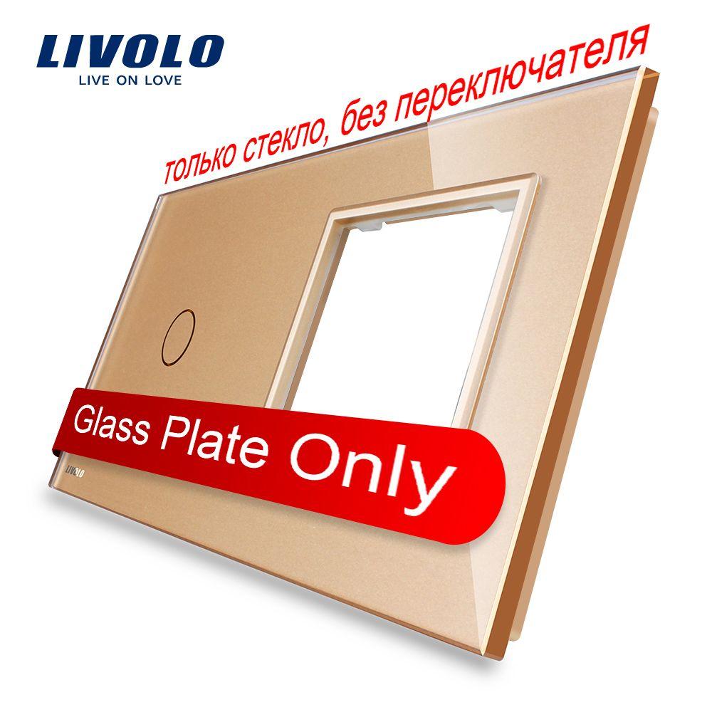 Livolo Luxury Golden Perle Kristall Glas, 151mm * 80mm, EU standard, 1 Gang & 1 Rahmen Glasscheibe, VL-C7-C1/SR-13
