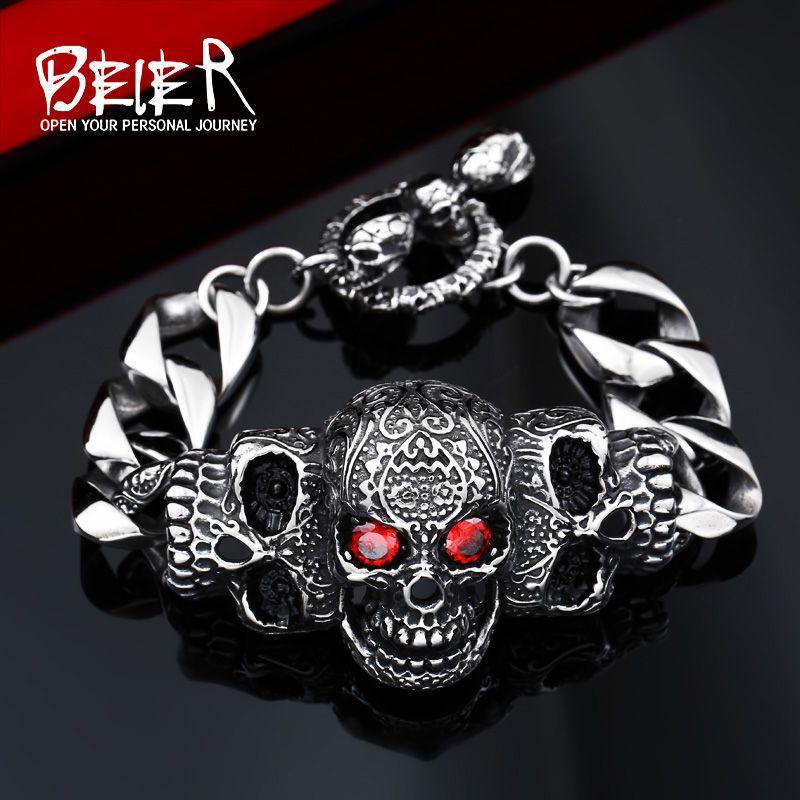 BEIER 316lStainless steelCool Men's Steel High Quality Red Eye <font><b>Stone</b></font> Biker Man Skull charms Bracelet Chain Factory Price BC8-021