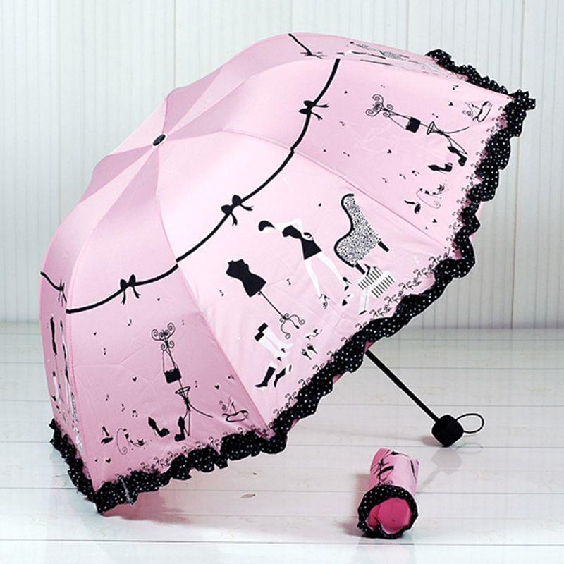 2019 nouveauté belle fille modèle parapluie pluie femmes mode arquée princesse parapluies femme Parasol cadeau créatif US041
