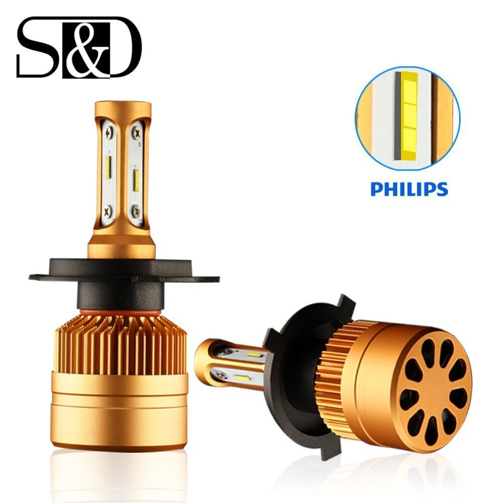 2Pcs H4 H7 LED H11 H8 H9 H1 HB4 H3 HB3 9005 9006 LED Headlight Bulbs with Philips Chip Car Lamp Auto DRL Fog Lights White 12V