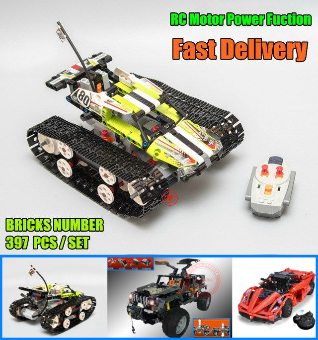 <font><b>Motor</b></font> Power Function RC TRACKED RACER CAR Electric fit legoings technic car 42065 speed car Building Block bricks Model kid gift