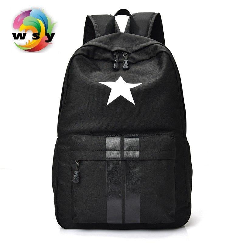 Étoile & bandes impression toile sac à dos Contracté joker preppy style école sac à dos Portable grande capacité voyage sac à dos
