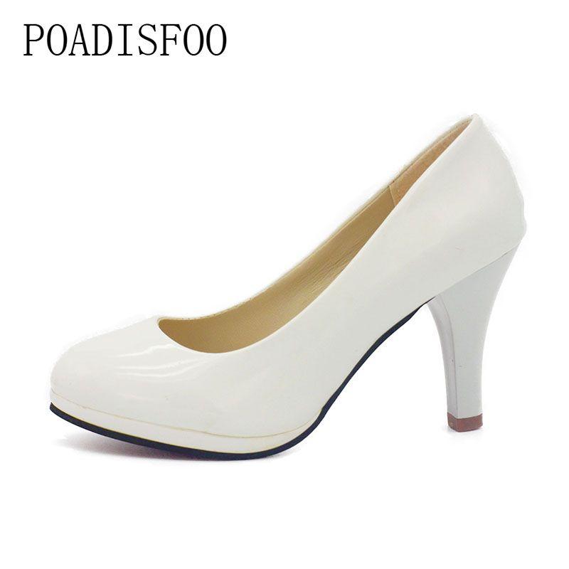 POADISFOO Zapatos de Las Mujeres 2017 Nuevos Zapatos de Las Mujeres 3 Colores Negro Blanco Rojo Color de LA PU Tacones Delgados Bombas Bombas de Profesión. DFGD-8807
