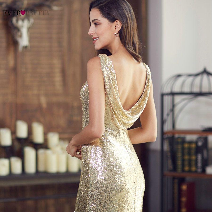 Gold Long Evening Dress Ever Pretty Back Cowl Neck EP07110GD Shine Sequin Sparkle Elegant Women 2017 Evening Party Gown
