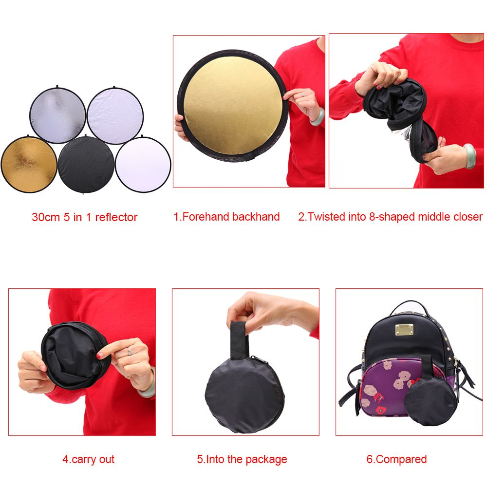 CY 30cm 11.8'' 5 in 1 profession Portable Collapsible Light Round Photography Reflector for Multi Photo Studio Disc reflector
