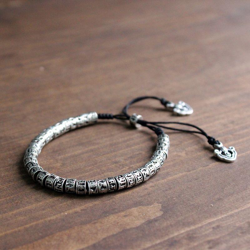 Bracelet en laiton bouddhisme tibétain traditionnel Eastisan hommes Six mots Mantra OM MANI PADME HUM amulette en métal vieilli Bracelet de perles