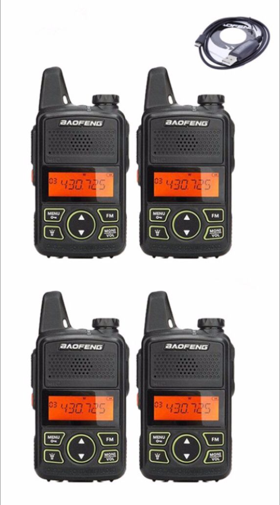 4pack baofeng BF-T1 mini walkie talkie UHF 400-470MHz ham radio station ptt handheld FM Portable pofung bf t1 two way radio