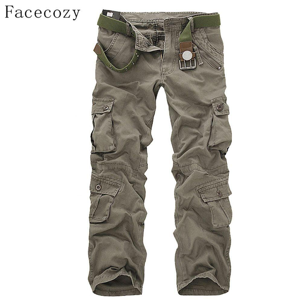 Facecozy Hommes D'hiver Tactique Militaire Sport Randonnée Pantalon En Plein Air Masculins Multi-poches Coupe-Vent Camping Trekking Pantalon Cargo