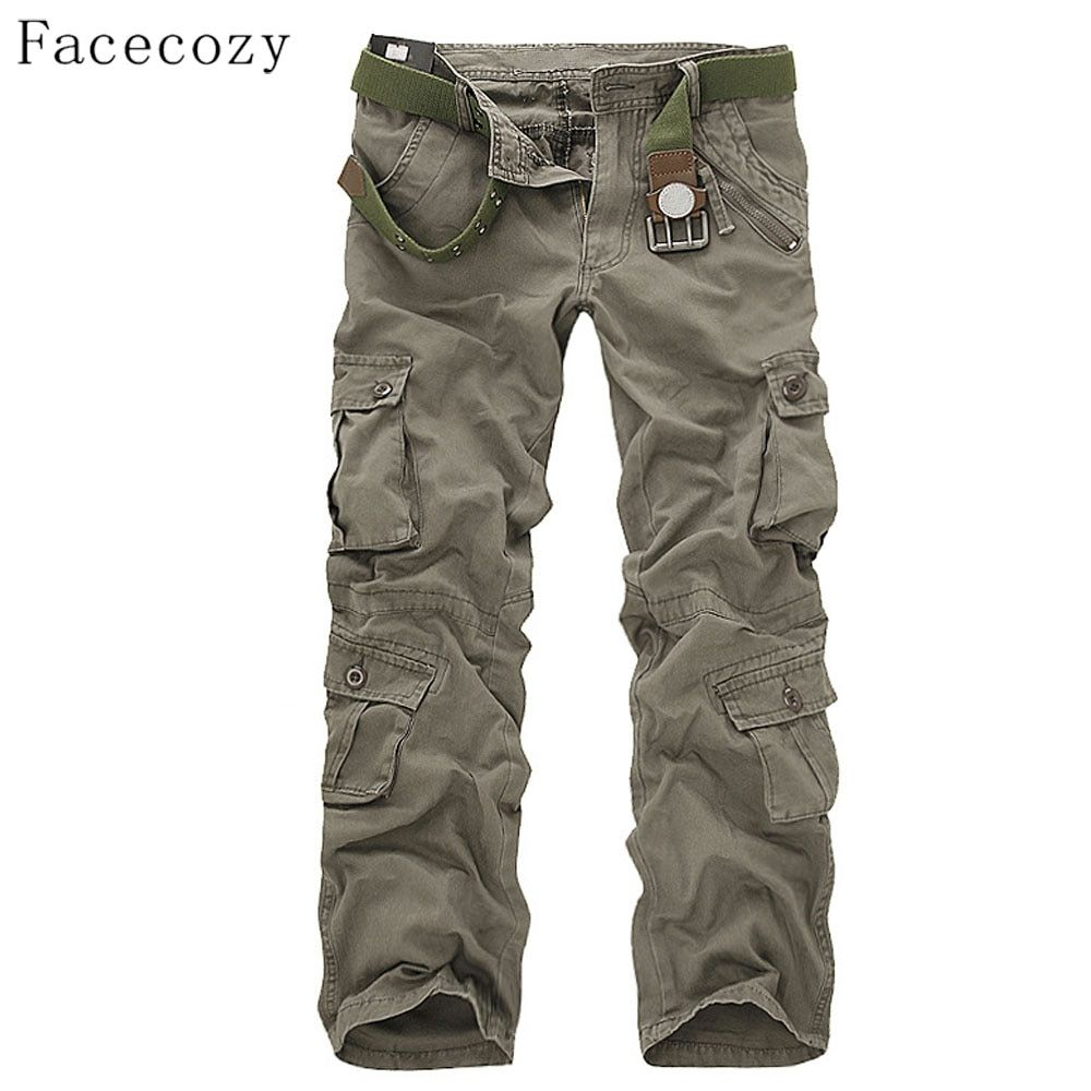 Facecozy Men Autumn Tactical Military Sports Pant Male Outdoor Multi-pockets <font><b>Hiking</b></font> Loose Style Trouser