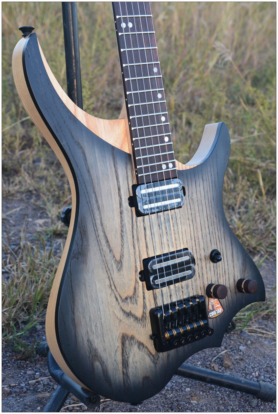 NK Headless Electric Guitar steinberger style Model Black burst color Flame maple Neck in stock Guitar free shipping
