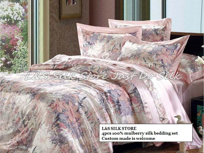 Silk bedding set 4pcs duvet cover flat sheet pillowcase fast shipping luxurious mulberry pure print soft silk /ls2112