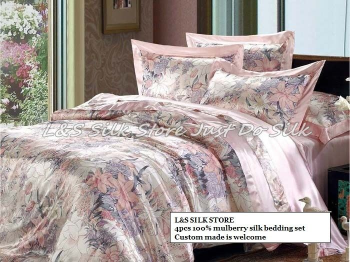 Silk bedding set 4pcs duvet cover flat sheet pillowcase fast shipping luxurious mulberry pure print soft silk /ls2112