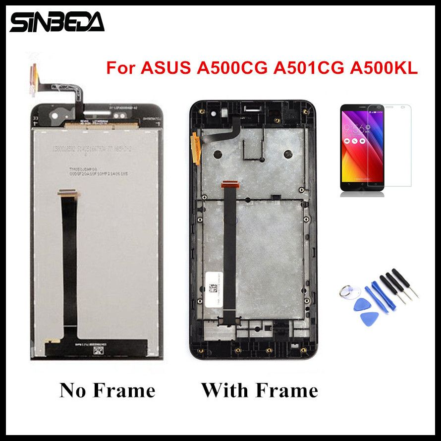 Sinbeda For ASUS Zenfone 5 A500CG A501CG A500KL T00J T00F T00P LCD Screen Display+Touch Screen Digitizer Assembly With Frame