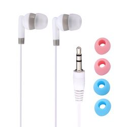3.5mm Universal Wired Earphone In Ear Earbuds Common Earphone Earpiece with 4 Ear Caps White For MP3 MP4 Computer Mobilephone