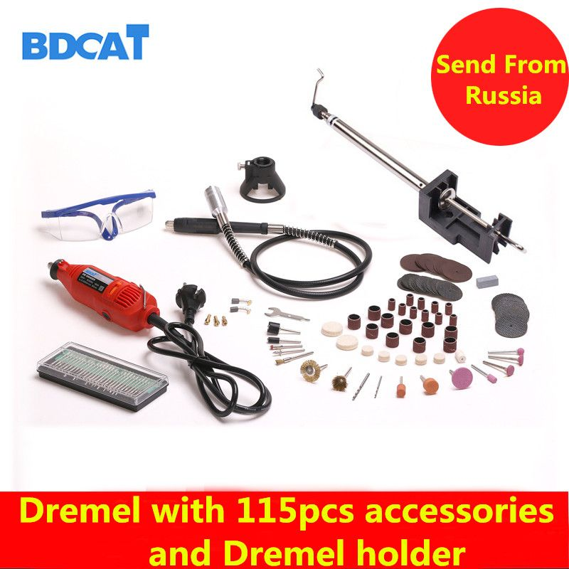 BDCAT 180W Electric Dremel Mini Drill polishing machine Rotary Tool with 140pcs Power Tools accessories and dremel holder
