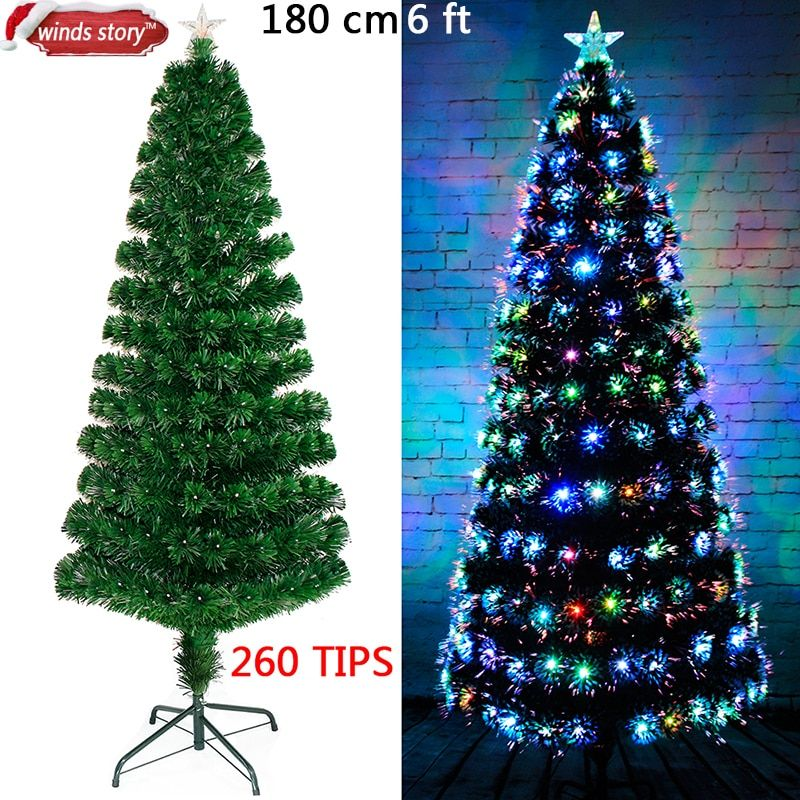 Christmas decorations 4'/5'/6' Fiber optic Christmas tree LED Colour Changing Traditional Artificial Green Flash Xmas tree gift