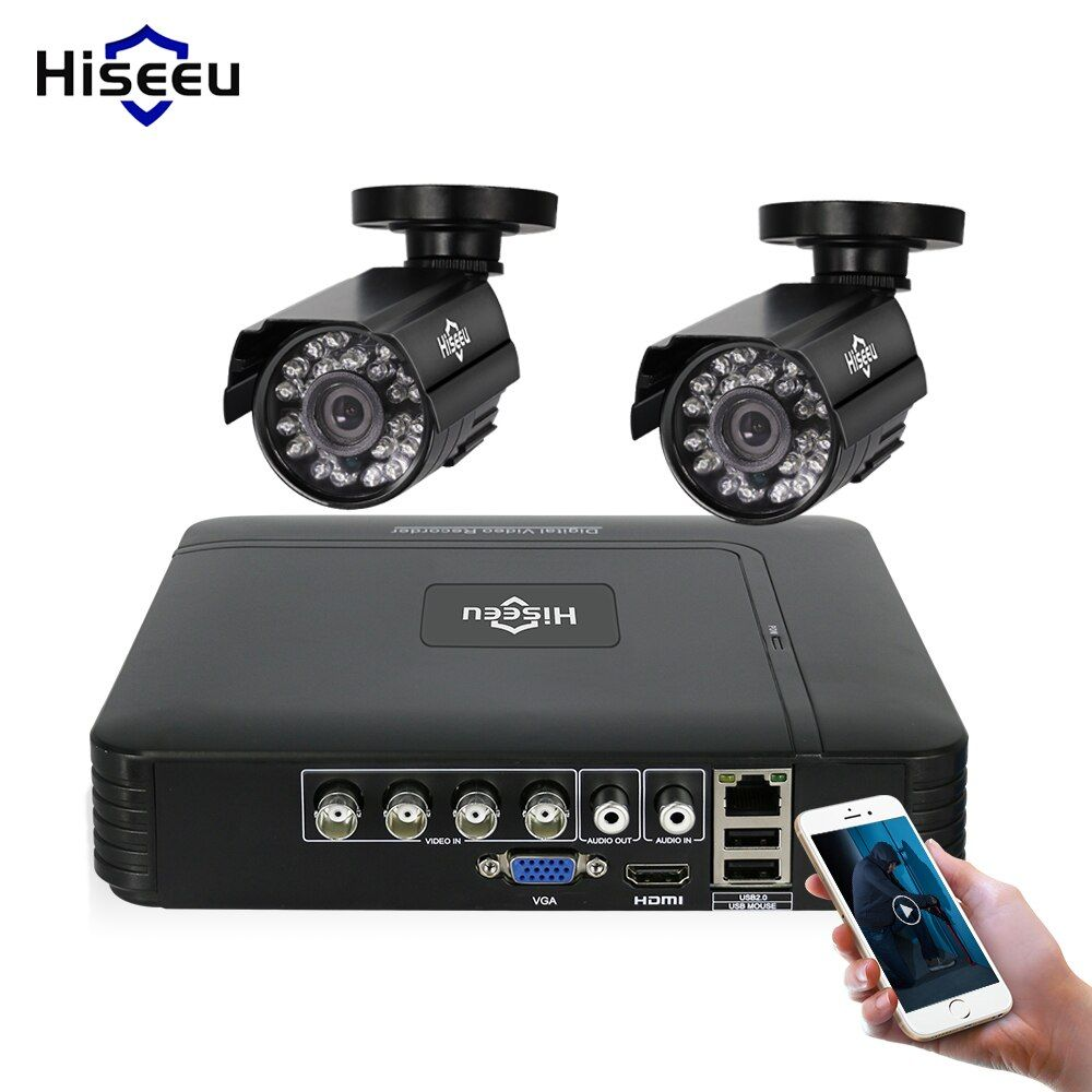 Hiseeu 4CH DVR CCTV System 2PCS Cameras 2CH 1.0 MP IR Outdoor Security Camera <font><b>720P</b></font> HDMI AHD CCTV DVR 1200 TVL Surveillance Kit