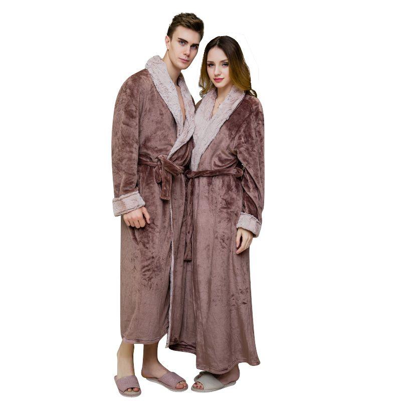 ZDFURS *Women Men Neck Thick Warm Long Flannel Bathrobe Plus Size Kimono Robe Winter Peignoir Dressing Gown Bridesmaid Robes