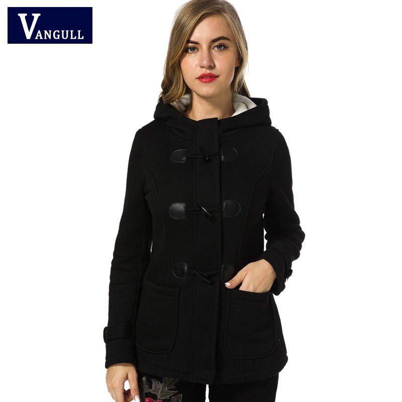Manteau d'hiver Des Femmes 2017 Nouvelles Femmes De Mode Mélanges Slim Col Capuche Zipper Corne Bouton Manteaux Longs Manteaux bouton spécial