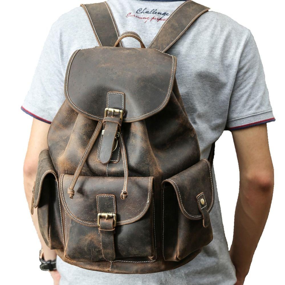 Tiding Large Thick Genuine Leather Drawstring Backpack for Men Vintage Rucksack Backpack for 15.6 Inch Laptop 3165