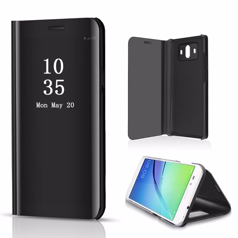 Plating Mirror Case For Samsung S10 S9 S8 Note9 Smart View Flip Stand Cover For iphone XS Max Huawei Mate 20 Lite Huawei P30 Pro