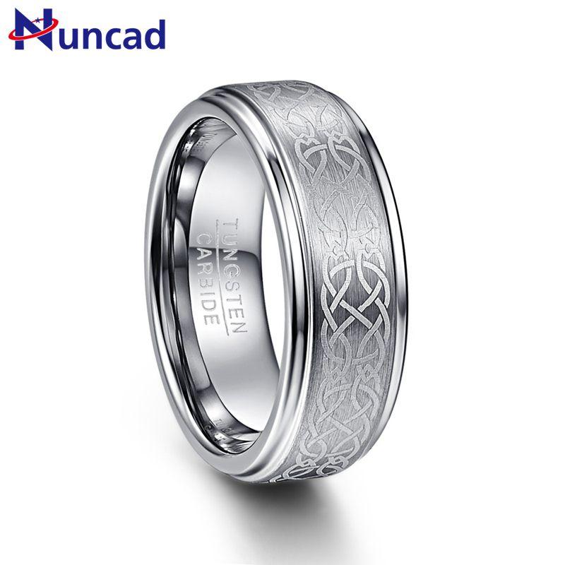 Nuncad hombres 8mm Laser Celtic Knot Wedding Band Anillos de Carburo De Tungsteno Cepillado Paso Pulido Borde Tamaño 7-12