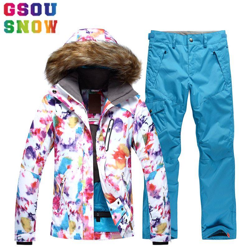 Gsou Snow Brand лыжный костюм Для женщин лыжная куртка Брюки для девочек Водонепроницаемый сноуборд Наборы для ухода за кожей зимой на открытом во...