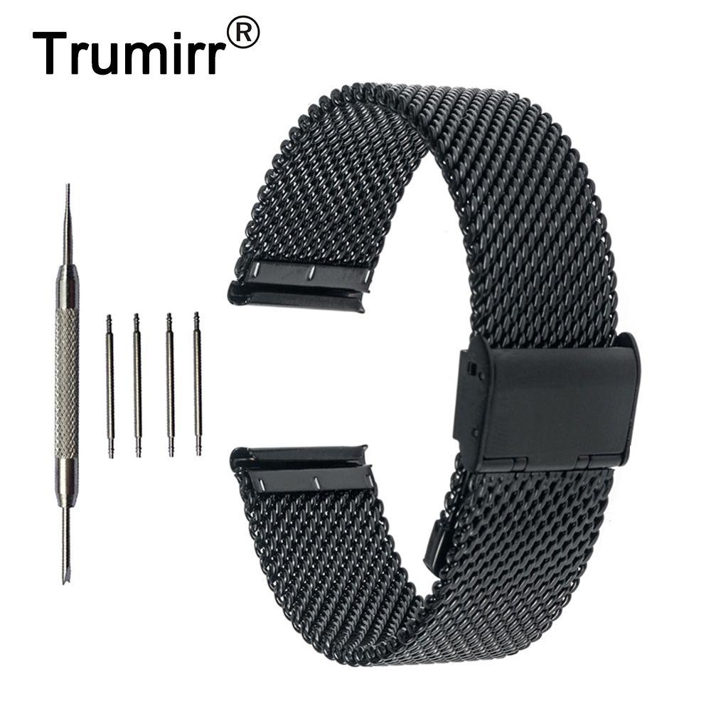 Bracelet de montre intelligent en acier inoxydable 20mm Bracelet de montre Bracelet pour Motorola Moto 360 2 Gen 42mm Samsung Gear S2 classique SM-R7320