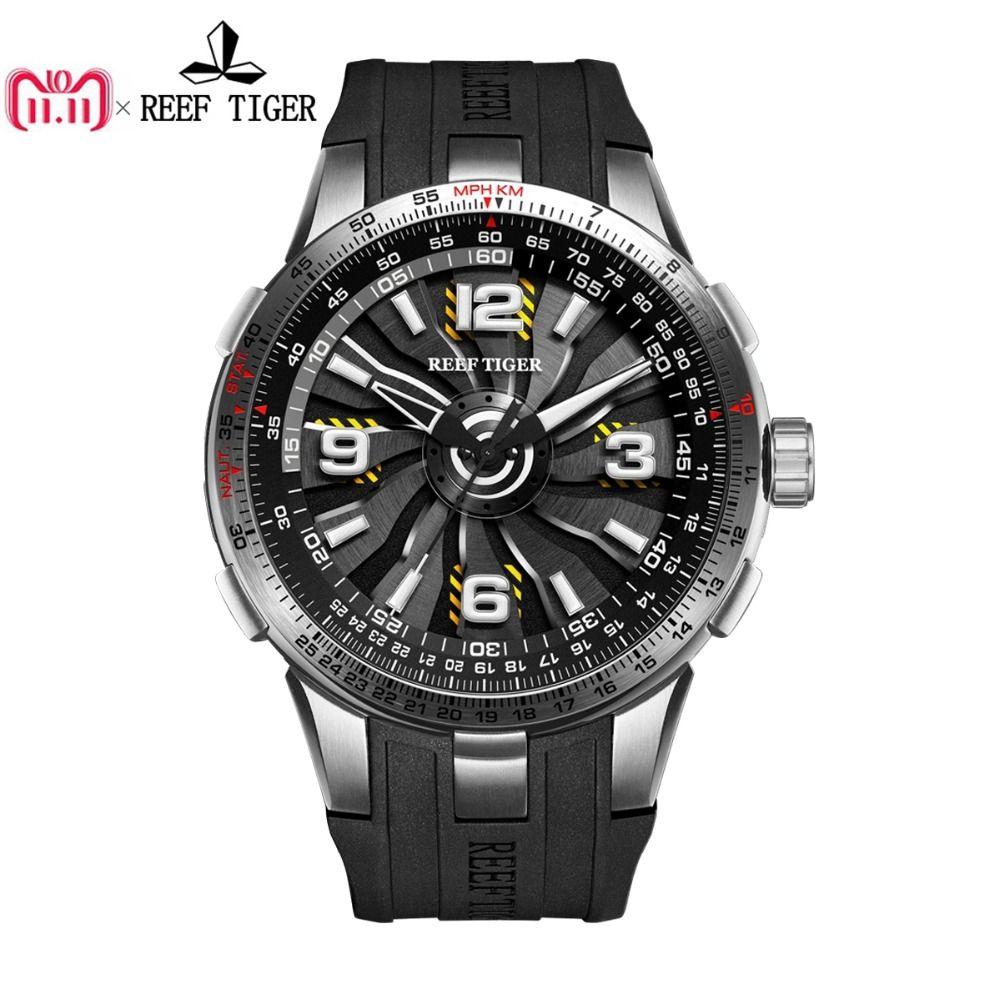 Neue Riff Tiger/RT Military Uhren für Männer Stahl Automatische Uhren Rubber Strap Whirling Zifferblatt Sport Uhr RGA3059