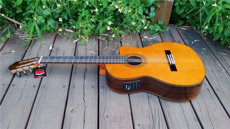 39 inch Cutaway Handmade Electric Spanish guitar,VENDIMIA Solid Cedar /Rosewood Acoustic guitarras+STRINGS,Classical guitar