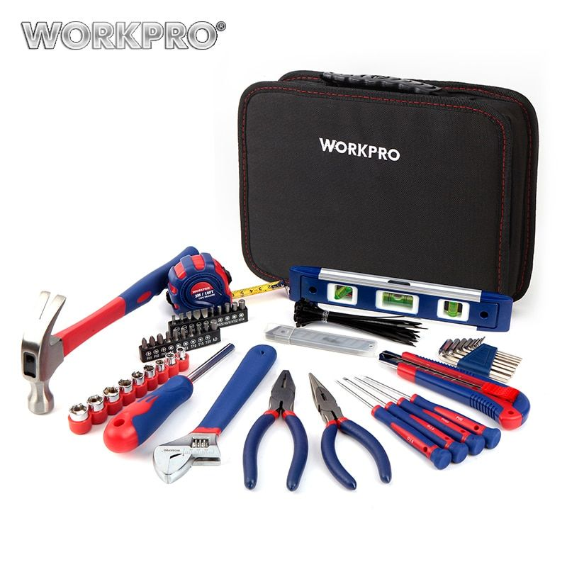 WORKPRO 100PC Household Tool Set Kitchen Mechanic Tool Kit Pliers Screwdrivers Sockets Wrenches Hammer Knife