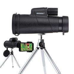 Borwolf Monoculars 10X42 Kuat Teropong Zoom Bidang Gelas Besar Handheld Teleskop dengan Klip Telepon untuk Mengamati Burung