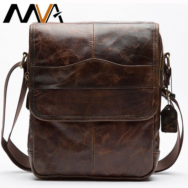MVA Messenger sac pour hommes en cuir véritable sac à bandoulière pour hommes en cuir de mode homme petit rabat mâle sacs à bandoulière sacs à main 1121