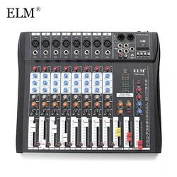 ELM Professional 8Channel Digital Sound Mixing Amplifier Mixer Console Microphone Karaoke Audio Mixer 48V Phantom Power With USB